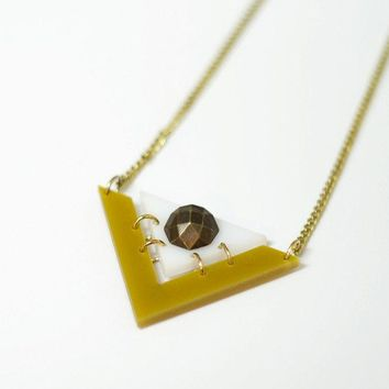 Geometric Long Gold and White Necklace