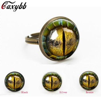 free shipping Three-dimensional dragon eye colorful eye Glass Cabochon Dome gift for send friend adjustable rings handmade 100%