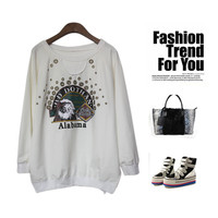 Punk Print Irregular Plus Size Cotton Strong Character Hoodies [4918277124]