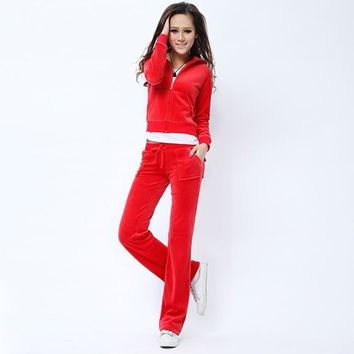 Juicy Couture Pure Color Velour Tracksuit 6047 2pcs Women Suits Red-1