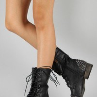 Breckelle Georgia-28 Studded Military Lace Up Boot