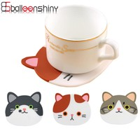 Placemat Cartoon Cat Pattern Silicone Drinks Coasters Table Cup Mat Coffee Tools Holder Home Decor kitchen Accessories