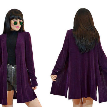 vintage 90s plum grunge slinky duster jacket 1990s new wave purple minimalist spandex jacket ultra draped top small
