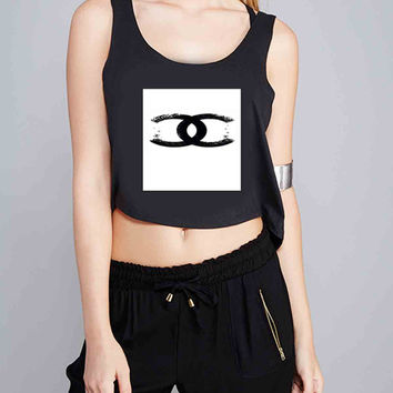 CC chanels logo art for Crop Tank Girls S, M, L, XL, XXL *07*