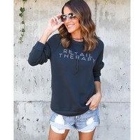 Womens Pullover Black Sweater +Gift Necklace