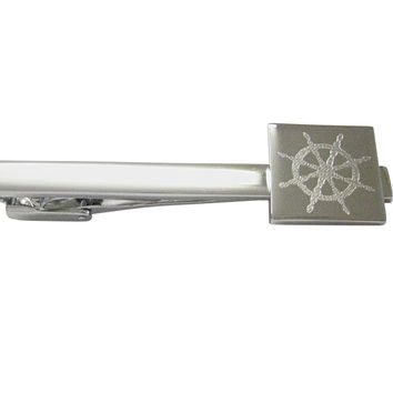 Silver Toned Etched Nautical Helm Square Tie Clip
