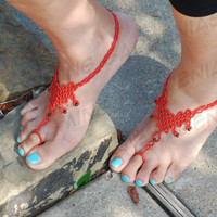 Red Barefoot Sandals, Beach Sandals, Beach Wedding, Bottomless Sandals, Beaded Barefoot Sandals, Bridal Jewelry, Anklet, Ankle Jewelry