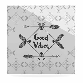 "Famenxt ""Boho Good Vibes"" Black Gray Luxe Square Panel"