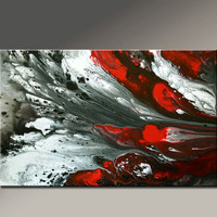 Abstract Canvas Art Painting 36x24 Original Red Black White Contemporary Paintings by Destiny Womack - dWo - Escape the Dark