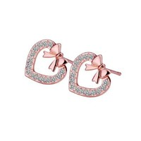 White Gold Plated Heart Bow Stud Earrings Fashion Jewelry Nickel Free