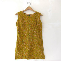 60s Twiggy sun dress. mustard yellow floral mini dress.