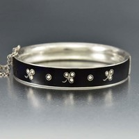 Black Enamel Pearl Clover Antique Mourning Bracelet