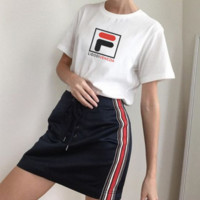 FILA Summer Lovers Men and Women Fashion Hipster Top T-Shirts white