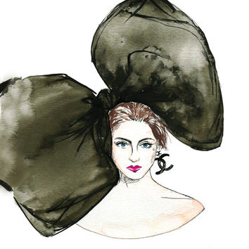 Fashion Illustration - Chanel Big bow  -  Watercolor Women portrait - Art Print -