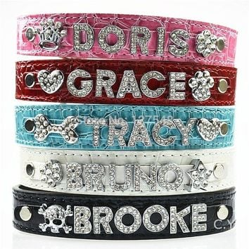 10MM Bling Personalized Dog Collar With Rhinestone Buckle DIY Name Pet Puppy Cat Collars (Free & 5 PCS Letter & 1PCS Charms )