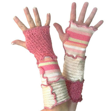 Pink Arm Warmers, Upcycled Clothing, Pink Fingerless Gloves, Upcycled Arm Warmers, OOAK Arm Warmers,  Handmade Arm Warmers, Gift for Her