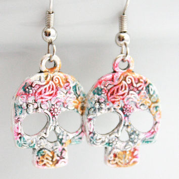Sugar Skull Earrings - Mexican- Hand painted Flowers - Blue - Pink - Orange