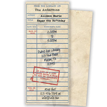 Library Card Invitation - Book Birthday Party - Book Party Invitations - Vintage Library Card Invite - Girl Birthday - Boy Birthday - old