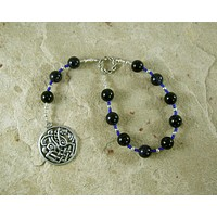 Odin (Woden) Pocket Prayer Beads in Blue Goldstone: Norse God of Battle, Magic, Runes, Wisdom