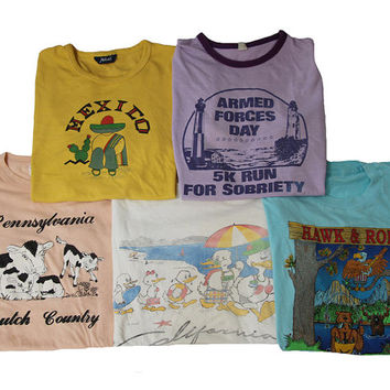 5 Vintage T-shirts Size Large Womens Distressed 80's Shirts