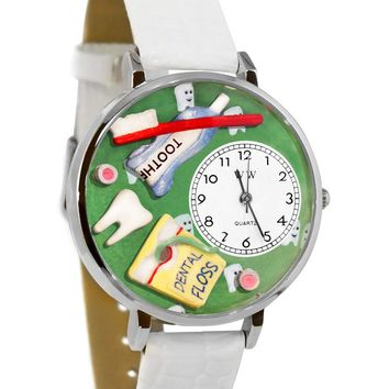 Dental Assistant White Leather And Silvertone Watch