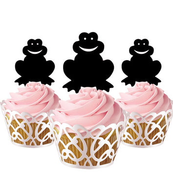 6 pcs in one set frog CupCake toppers for party decor, animal cupcake toppers acrylic, topper for birthday, kids birthday cake decor