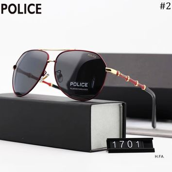POLICE 2018 new men's bamboo mirror legs retro large frame polarized sunglasses #2