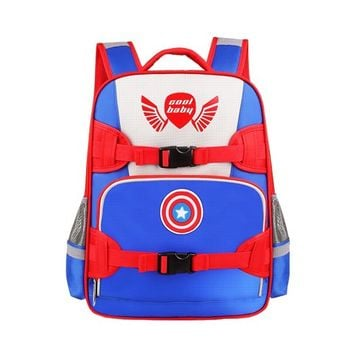 CrazyPomelo Captain America Shield Light-reflecting Primary School Boys' Backpack Blue - L