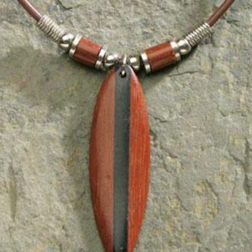 Wood Surfboard Rubber Cord Necklace