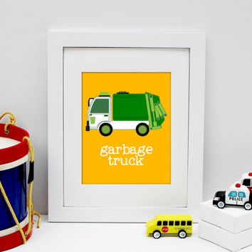 garbage truck art print, constrution decor, construction art print, baby boy bedroom wall art, nursery art print, baby boy wall art
