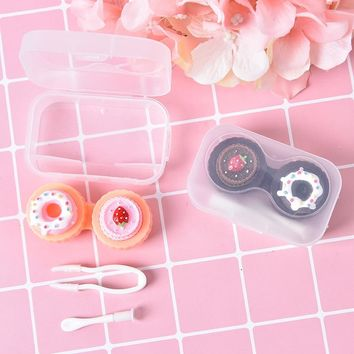 1PCS Cute Cream Cake Glasses Double Contact Lenses Box Contact Lens Case For Eyes Care Kit Holder Container Gift 2color