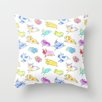 Fabulous Flying Frenchies Throw Pillow by InkPug   Society6