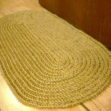 Door Mat, Decorative jute rug, Oval Rag Rug / Braided style