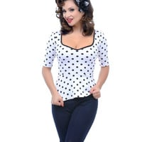 White & Black Polka Dot Peplum Top