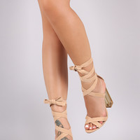 Suede Open Toe Lace Up Lucite Heel