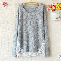 LACE CROCHET STITCHING HEM ROUND NECK LONG SLEEVE KNIT