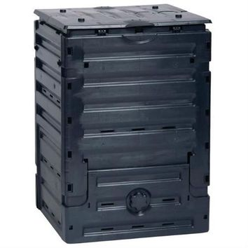 UV-Resistant Black Recycled Plastic Compost Bin with Lid - 79 Gallon