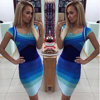 2016 Gradient Color Slim Women Bandage Bodycon Dresses Sleeveless V Neck Blue Sexy Party Dress Plus Size Russia Hot Sale