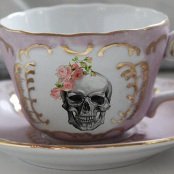 Pink & Gold Skull Rose Bride / Groom Skull Tea Cup and Saucer, Available as Tea Set, Goth Wedding Couple Cup, Steampunk Wedding, Wedding Tea