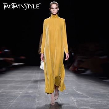 [TWOTWINSTYLE] 2017 Autumn Vintage Long Sleeves High Collar Pullovers Velvet Maxi Dress Women New 2 Colors