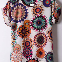 Sun Flower Print Chiffon Top