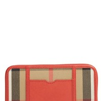 Women's Burberry 'Ziggy - Large' Check Print Zip Wallet