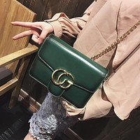 Women All-match Retro Small Square Bag Metal Chain Single Shoulder Messenger Bag Handbag