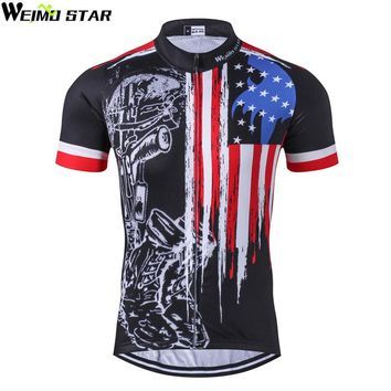 Weimostar 2017 Breathable USA Cycling Jersey Men Summer Racing Sport Cycling Clothing Short Sleeve mtb Bicycle Bike Jersey Shirt