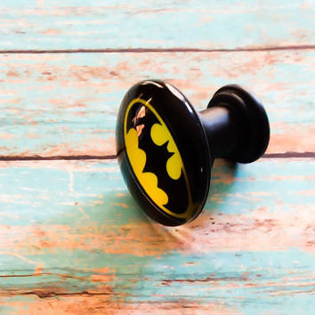 Batman Dresser Drawer Knobs Pulls Batman Logo Knob Batman Bedroom Batman Bathroom Boy Dresser Knob Justice League Superhero Knobs