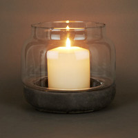 Buy Concrete Base Hurricane Candle Holder, Small | John Lewis