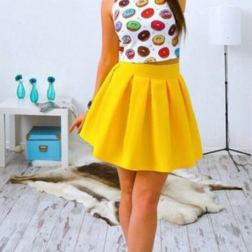 Cartoon Print Crop Top and Flare Skirt Two Piece 11769