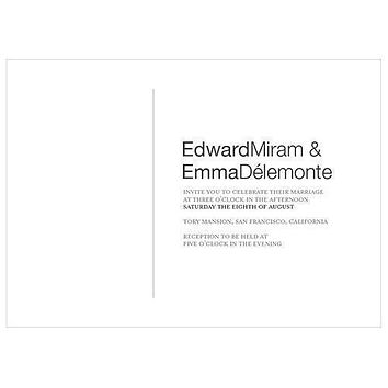 Monogram Simplicity Invitation - Open Area for Embossing-Stamping (Pack of 1)