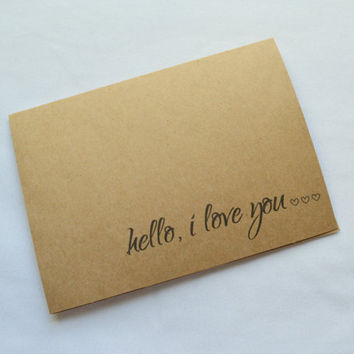 Hello I love you Valentine Day card Valentine Day card Romance Card  card anniversary card Love card funny love cards lets get naked beatles