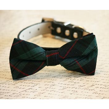 Plaid Green bow tie attached to collar, green plaid wedding pet bow tie, dog gifts